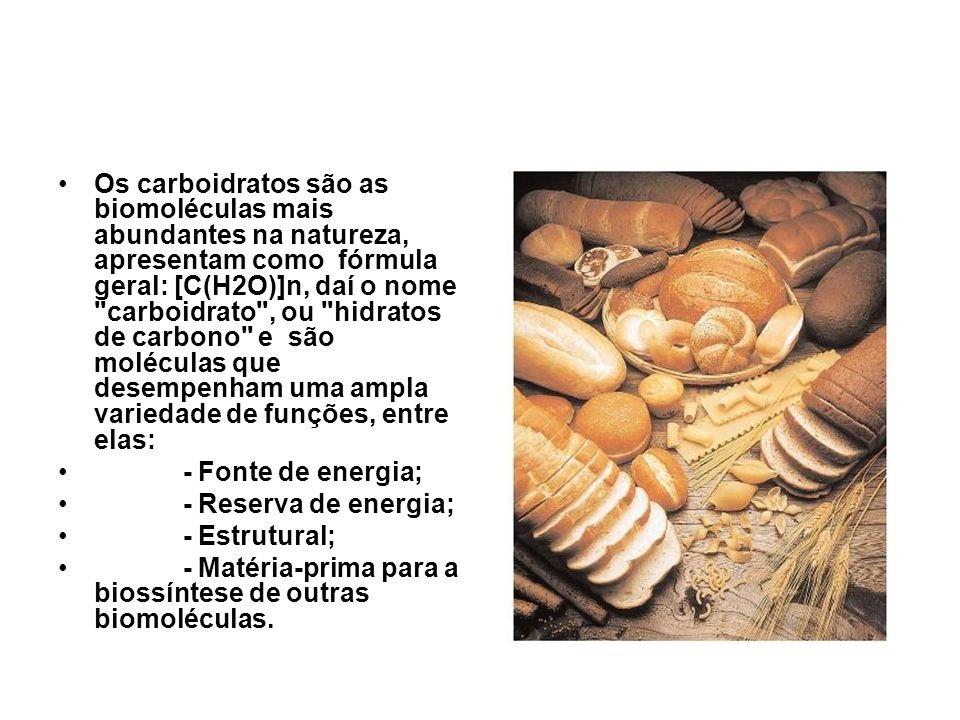 Os carboidratos são as biomoléculas mais abundantes na natureza, apresentam como fórmula geral: [C(H2O)]n, daí o nome carboidrato , ou hidratos de carbono e são moléculas que desempenham uma ampla variedade de funções, entre elas: